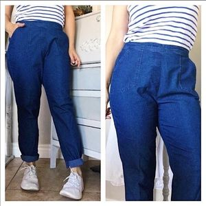 Vintage High Waisted Blue Chambray Style Pants 8P